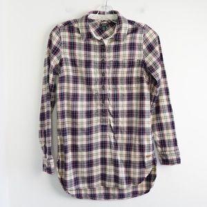 Roots tunic shirt long sleeve plaid XS beige red